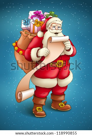 Santa Claus with sack full of gifts reading list of good kids. Vector illustration isolated on blue snow background EPS10. - stock vector