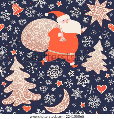 Santa Claus with sack of Christmas gifts.  Seamless pattern with lacy Xmas trees, moon, stars, bell and snowflakes .Christmas background, greeting card. Vector illustration. - stock vector