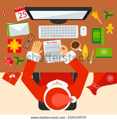 Santa Claus workplace, vector illustration. Santa reading Christmas letter. Christmas icons set in flat design style: gifts, bell, calendar, ball etc. - stock vector