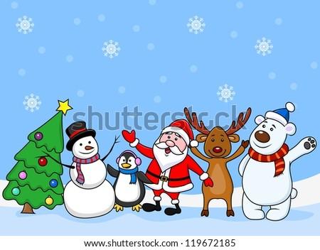 Santa clause and friends waving - stock vector