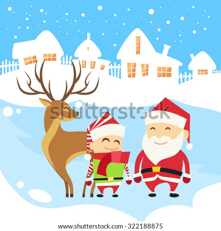 Santa Clause Christmas Elf Reindeer over Winter Snow House Village Silhouette New Year Card Flat Vector Illustration - stock vector
