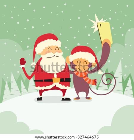 Santa Clause Christmas Monkey Cartoon Character Taking Selfie Photo On Smart Phone Flat Vector Illustration - stock vector