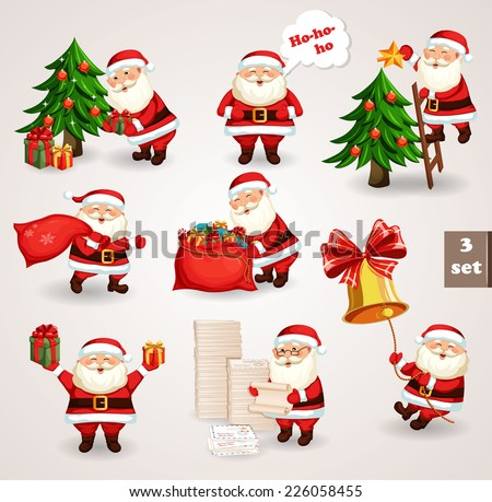 Santa Clause going to celebration Christmas. Characters set. Holiday vector illustration