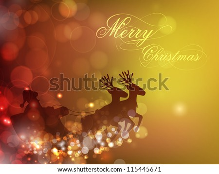Santa Clause sleigh and reindeer's on snowflake background for Merry Christmas festival. EPS 10. - stock vector