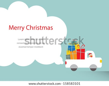 santa driving a trank full of presents - stock vector
