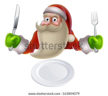 Santa eating Christmas dinner, cartoon Santa sat down with a knife and fork ready for dinner to be put on his plate - stock vector