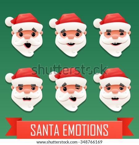 Santa emotions - stock vector