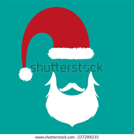 Santa face, hat and beard - vector hipster icon on cyan backround - stock vector