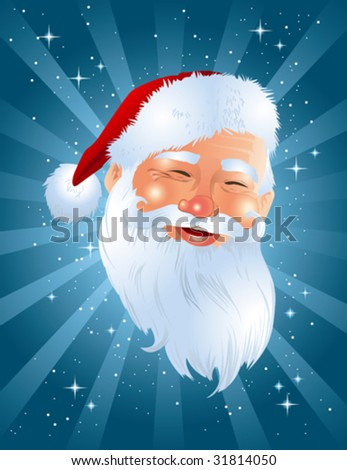 Santa face on blue shining background - stock vector