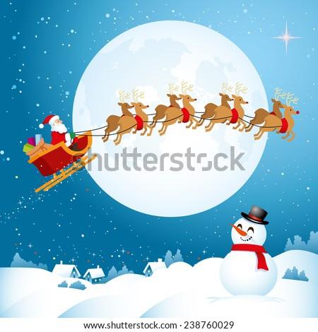 Santa flying across the Night Sky - stock vector
