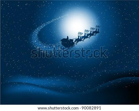 Santa flying through the night sky - stock vector
