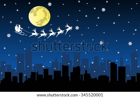 Santa Flying with sledge on Night City - stock vector