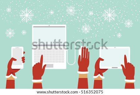 Santa hands holding various smart devices cartoon illustration