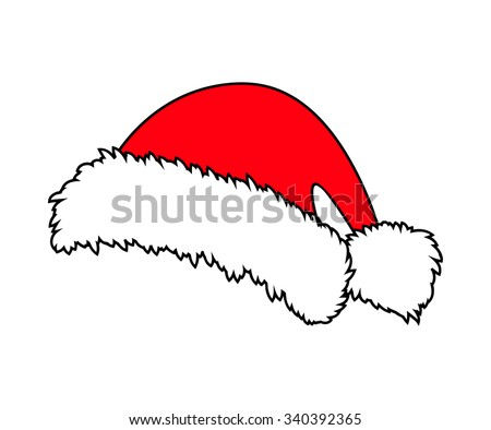 Santa hat, Christmas cap icon, symbol, design. Winter vector illustration isolated on white background. - stock vector