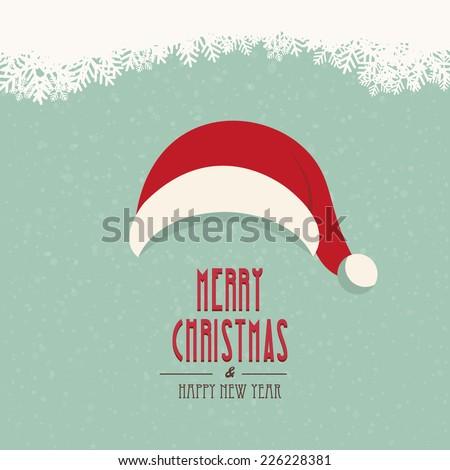 santa hat merry christmas snowy background - stock vector