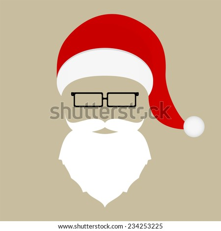 Santa hat, mustache, beard and glasses  - stock vector
