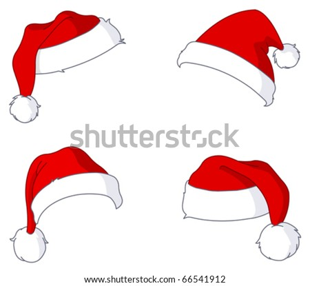 Santa hat set - stock vector