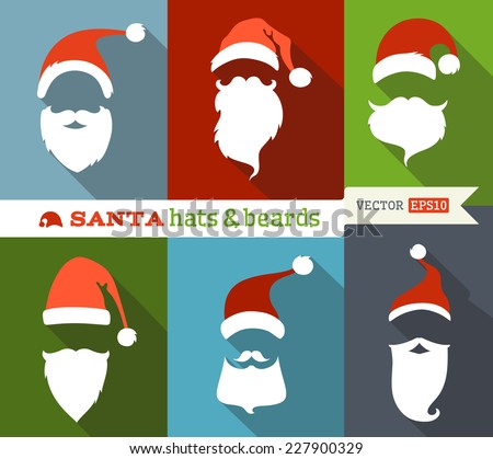 Santa hats and beards. Flat Christmas icons with long shadow. Retro design.  - stock vector
