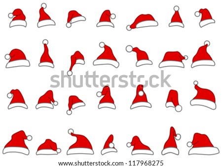 Santa hats doodles - stock vector