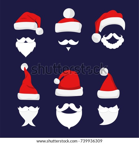 Santa hats, moustache and beards. Christmas elements for your festive design