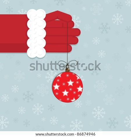 santa holding a christmas decoration on blue snowflake background - stock vector