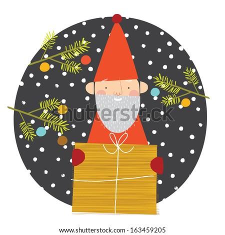 Santa holding a gift - stock vector