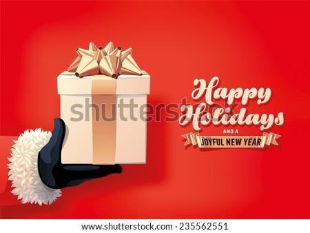 Santa Holding Christmas Gift - stock vector