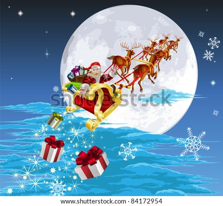 Santa in his Christmas sled or sleigh, delivering his Christmas gifts to everyone - stock vector
