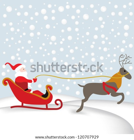 Santa in his sleigh with reindeer in snowy landscape - stock vector