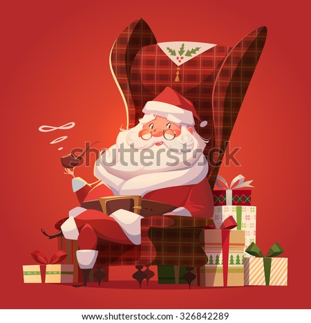 Santa in the chair. Christmas greeting card  background  poster. Vector illustration.