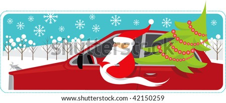 Santa is carrying a Christmas tree by car - stock vector