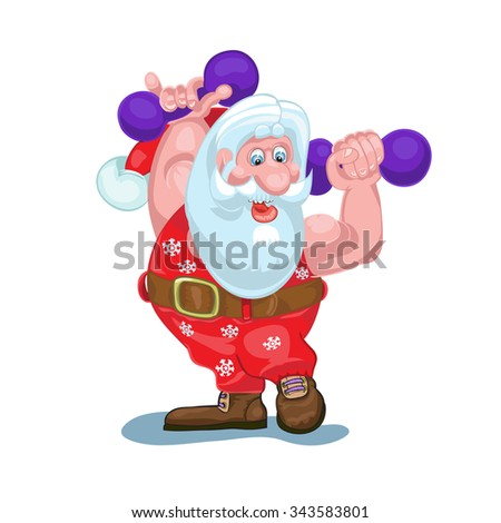 Santa is going to carry gifts, plays sports.Vector - stock vector