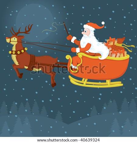 Santa it's coming - stock vector