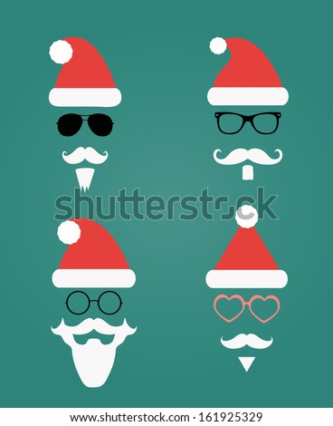 Santa Klaus fashion silhouette hipster style, illustration icons - stock vector