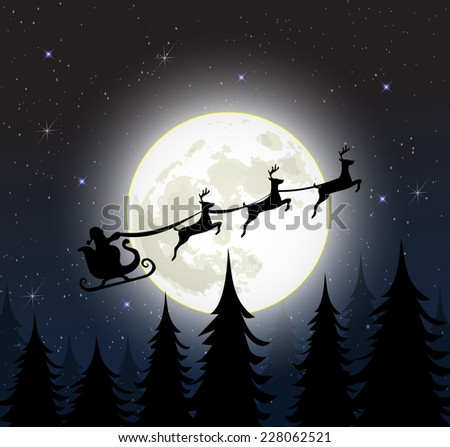 Santa on a sleigh with reindeers over the full moon vector - stock vector