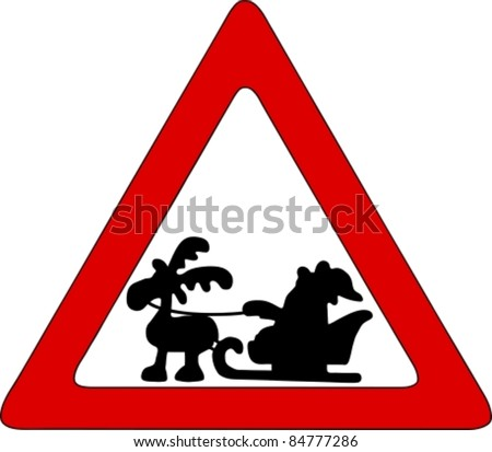 Santa on traffic sign - stock vector