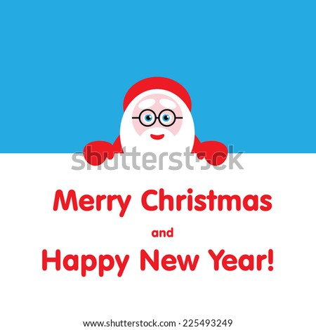 Santa peeping from behind the text. vector illustration