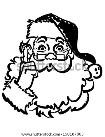 Santa Pointing Up - Retro Clip Art Illustration - stock vector
