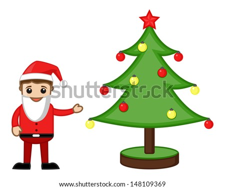 Santa Presenting Decorative Christmas Tree - Cartoon Business Characters - stock vector