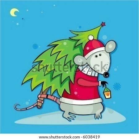 Santa rat with christmas tree.  To see more cute rats, please visit my gallery. - stock vector
