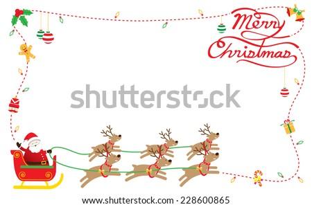 Santa, Reindeer, Border & Background - stock vector