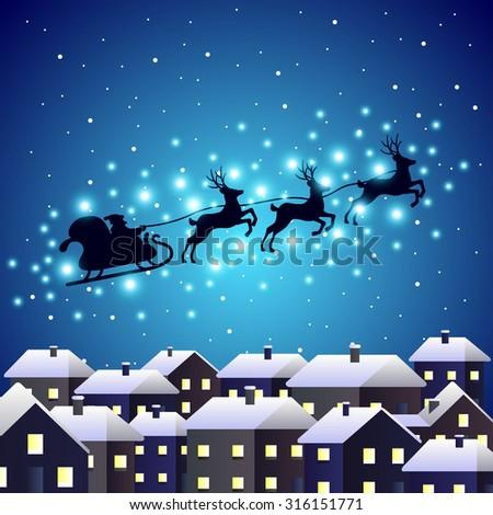 Santa reindeer silhouette on night city vector background - stock vector