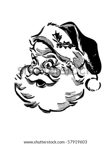 Santa - Retro Clip Art - stock vector