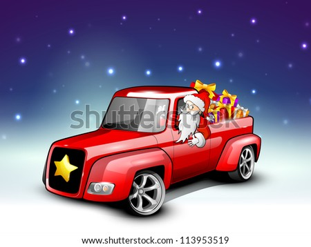 Santa riding Christmas car loaded with gifts. EPS 10. - stock vector