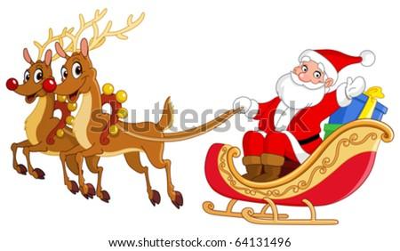 Santa riding his sleigh - stock vector