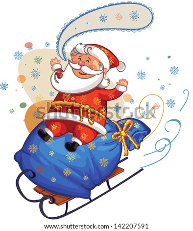 santa riding on sledge with big bag fully of gifts - stock vector