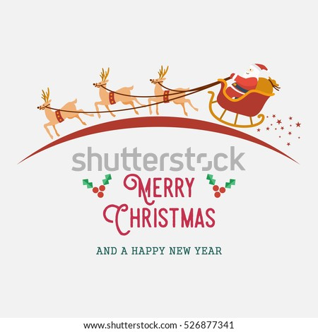 Santa riding sleigh with reindeer, vector