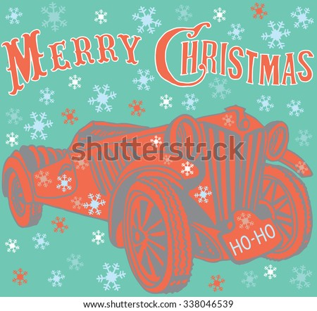 "Santa's Car . License plate with text ""HO-HO"". - stock vector"