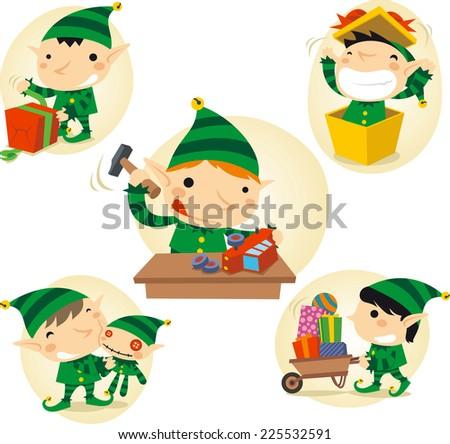 Santa�´s Elves action scenes vector cartoon illustration - stock vector