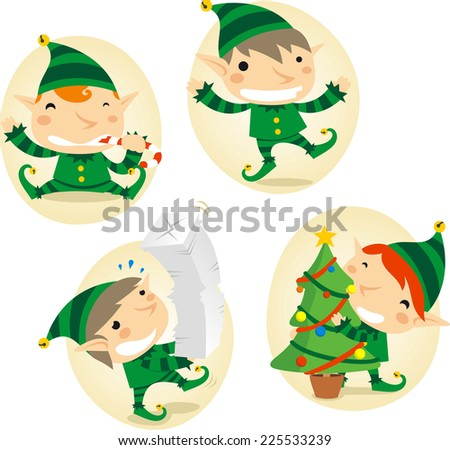 Santa�´s Elves action scenes vector cartoon illustration - stock vector